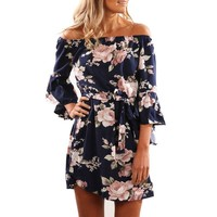 2019 Women Summer Dresses Off Shoulder Floral Print Mini Chiffon Dress Casual Bohemian Beach Party Dresses Vestidos De Fiesta