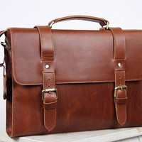 Brown Handmade cow leather tote/man's bag/shoulder bag/briefcase /messenger bag/leather bag/handmade bag/