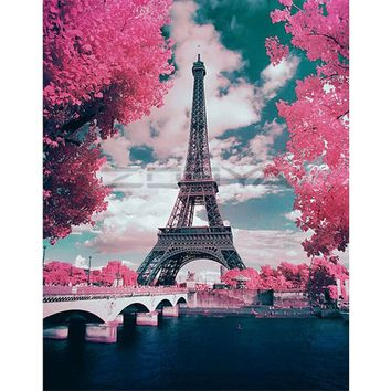 DIY PBN Paris Tower Arcylic Painting By Numbers On Canvas Framed Wall Pictures Art For Living Room Home Decoration
