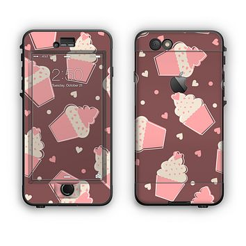 The Pink Outlined Cupcake Pattern Apple iPhone 6 LifeProof Nuud Case Skin Set