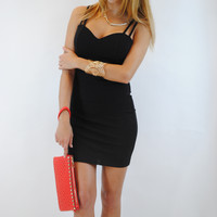 (anp) Drinks on me black bodycon dress
