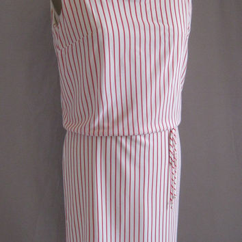 Vintage 60s MOD Blouson SHIFT DRESS Red and White Stripes