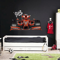 kcik191 Full Color Wall decal car racing formula race speed ring children's bedroom