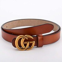 GUCCI Fashionable Women Men Retro Smooth Buckle Leather Belt Brown I/A