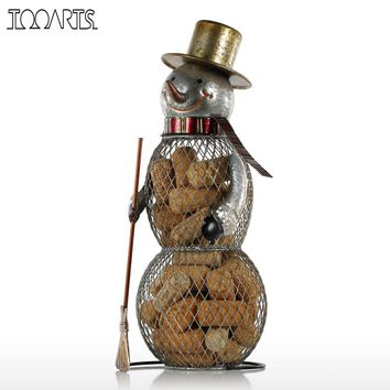 TOOARTS Christmas Snowman Cork Container Metal Handcrafts Home Decoration Practical Crafts Christmas Gift  Present for Xmas