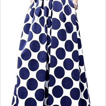 [13133] White Blue Contrast Polka Dot Print Maxi Skirt