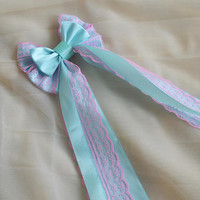 Hair bow - pastel blue and baby pink - fairy kei decora lolita harajuku romantic victorian princess fashion kawaii costume prop