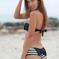 The Girl and The Water - lolli swim bow bottom stripes