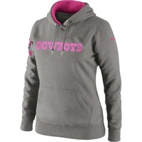 Nike Dallas Cowboys Ladies Breast Cancer Awareness Tailgater Pullover Hooded Sweatshirt - Ash