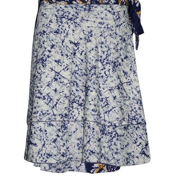 Women's Magic Wrap Skirt Blue PREMIUM Silk Blend Reversible Wrap-Around Short Skirts