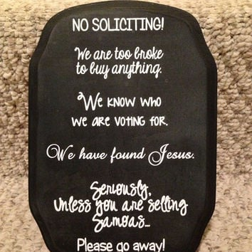 Cute No Soliciting Sign with Black Ribbon by BellaCuttery on Etsy