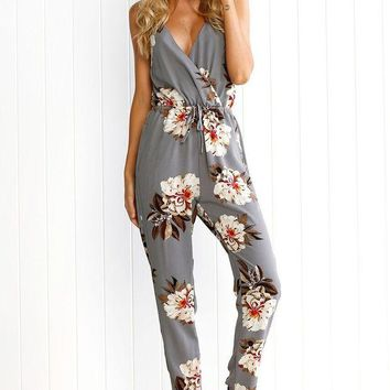 LMFCI7 2017 Casual print long jumpsuit romper women Sexy v neck straight overalls Streetwear sashes chiffon playsuit