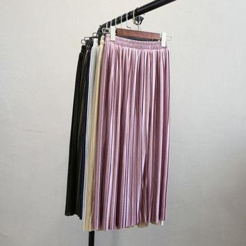 DK7G2 Alphalmoda New Arrival Women Pleated Midi Skirts Elastic Waist Solid Color Shining Fashion Satin Skirts in 6colors