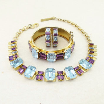 Vintage Christian Dior by Henkel & Grosse - Amethyst Purple - Blue Topaz Rhinestone Necklace, Bangle Bracelet, Earrings Parure STUNNING!