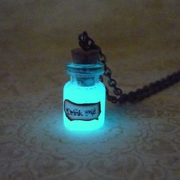 Alice in Wonderland inspired Pendant Glow In The Dark Drink Me Necklace Glowing Jewelry