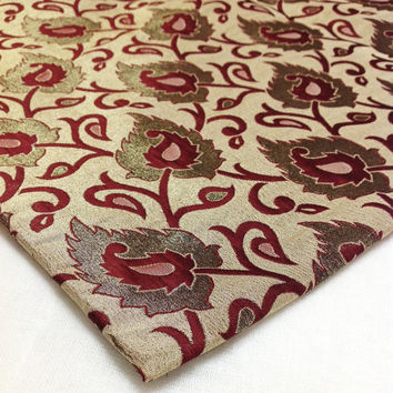Indian Brocade Silk - Reversible Brocade Fabric - Indian Paisley Pattern - Bronze Zari Weaving Brocade Fabric 1 Meter