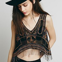 Free People Womens All of the Lights Beaded Tank