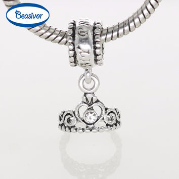 Official Original Design Silver Crown Charms Love Angle Pendants Flower Pattern for Women Charm Bracelets DIY Beads Jewelry
