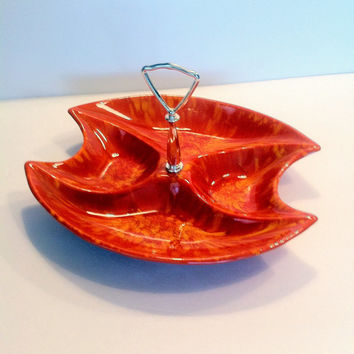 Cal Orig USA Divided Tray Orange Marbled Vintage Serving Dish with Silver Tone Handle