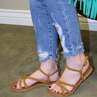 Studded Strappy Sandals - Camel
