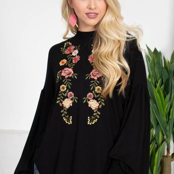 Embroidered Floral Midnight Black Top
