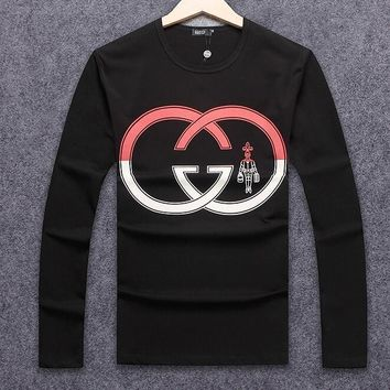 ''Gucci'' Fashionable Women Men Casual Double G Print Long Sleeve Round Collar Sweater Pullover Top Black