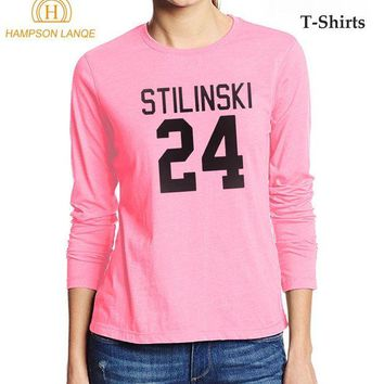 ONETOW Stilinski 24 Teen Wolf Brand Female T-Shirt 2017 Casual Autumn 100% Cotton Long Sleeve T Shirt Hipster Kawaii Pink Top Tee Shirt