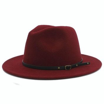 Wool Fedora Hat - Burgundy