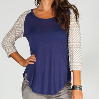 Anama Tribal Sleeve Womens Baseball Tee Navy  In Sizes
