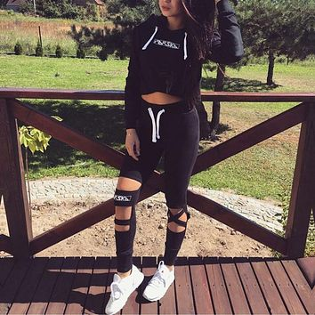 2017 Sexy Woman tracksuit two piece set Crop Top Hoodie + Pants Set Cut Out Bottoms Hooded Tracksuit Suit Autumn Clothes