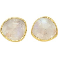 MONICA VINADER - Siren 18ct gold-plated stud earrings with moonstone | Selfridges.com