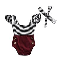2017 Summer Newborn Baby Girl Clothes Striped Romper Baby Bodysuit+Headband 2PCS Outfits Sunsuit Children Clothes
