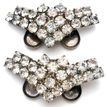 Vintage Shoe Clips with Clear Rhinestones Musi