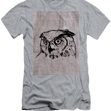 Owl On Burlap - Men's T-Shirt (Athletic Fit)