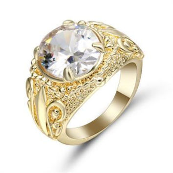 Women's White Sapphire 10K Yellow Gold Filled Engagement Ring Size 7