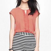KEYHOLE LACE PIECED BLOUSE from EXPRESS