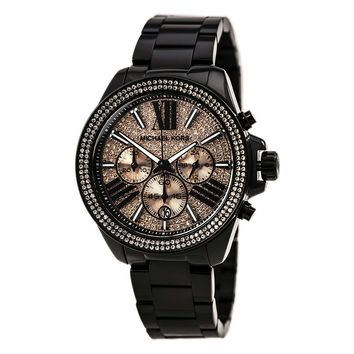 Michael Kors MK5879 Women's Everest Rose Gold Dial Black IP Steel Bracelet Chrono Crystal Watch