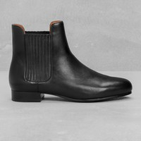 & Other Stories | Stretch Panel Leather Boots | Black