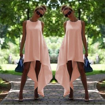 Pink Irregular Draped High-low Plus Size Midi Dress