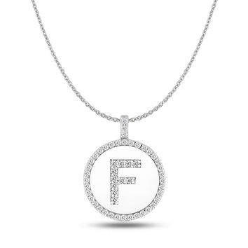 """F"" Diamond Initial  14K White Gold Disk Pendant (0.51ct)"