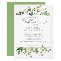 Botanical Dream Green and Golden Brown Leaves | Card