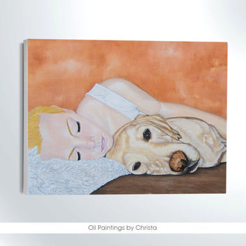 CUSTOM order face portrait-oil painting-kid with pet-nursery art-pet lovers-christmas gift-PET portrait-kids room -art-wall decor-gift ideas