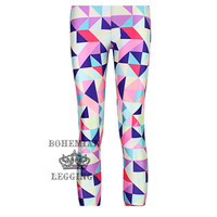 Women Multicolor geometric mosaic 3D design Sport Leggings
