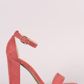 Bamboo Suede One Band Ankle Strap Open Toe Heel