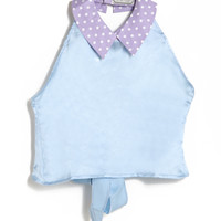 Satin Tie Back Crop Top with Polka Dot Collar