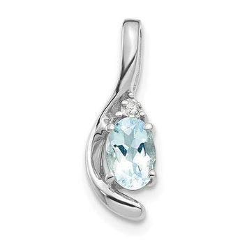 14k White Gold Aquamarine Oval and Diamond Pendant