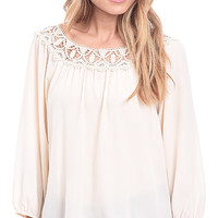 Lust Ladylike Crochet Peasant Top