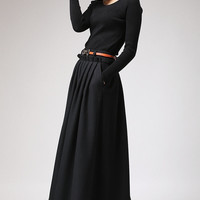 Black Wool Maxi Skirt - Long Pleated Full skirt  with Side Hip Pockets & Ruffle Waist Detail (721)