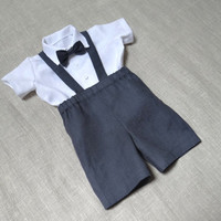 Kids boy natural linen suit baby boy clothes first birthday boys party suit suspenders outfit ring bearer baby boy kids eco friendly grey