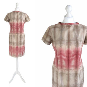 Vintage Tie Die Dress - Shift Dress - 90's Vintage Dress - Red And Taupe Ombre Fitted Dress